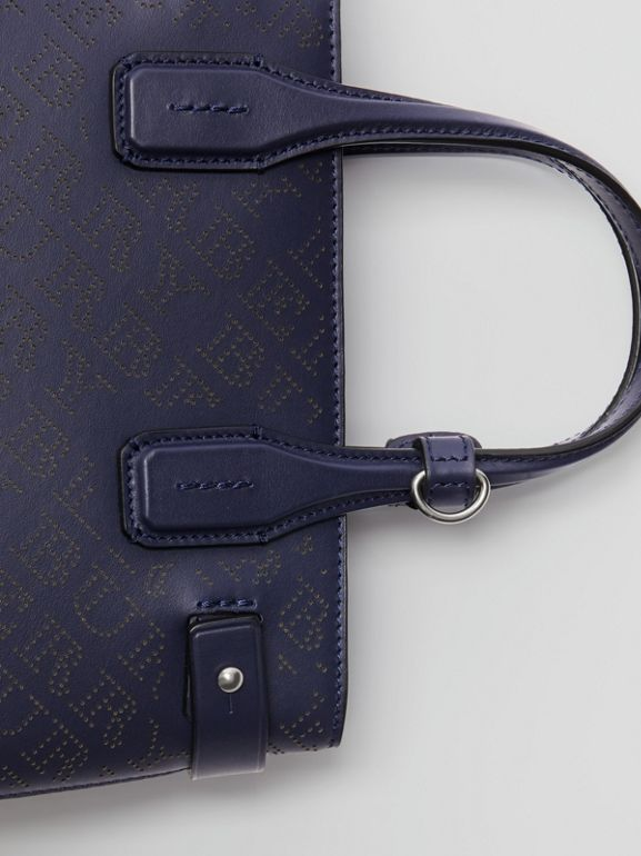 The Small Banner in Perforated Logo Leather in Regency Blue - Women | Burberry United Kingdom - cell image 1