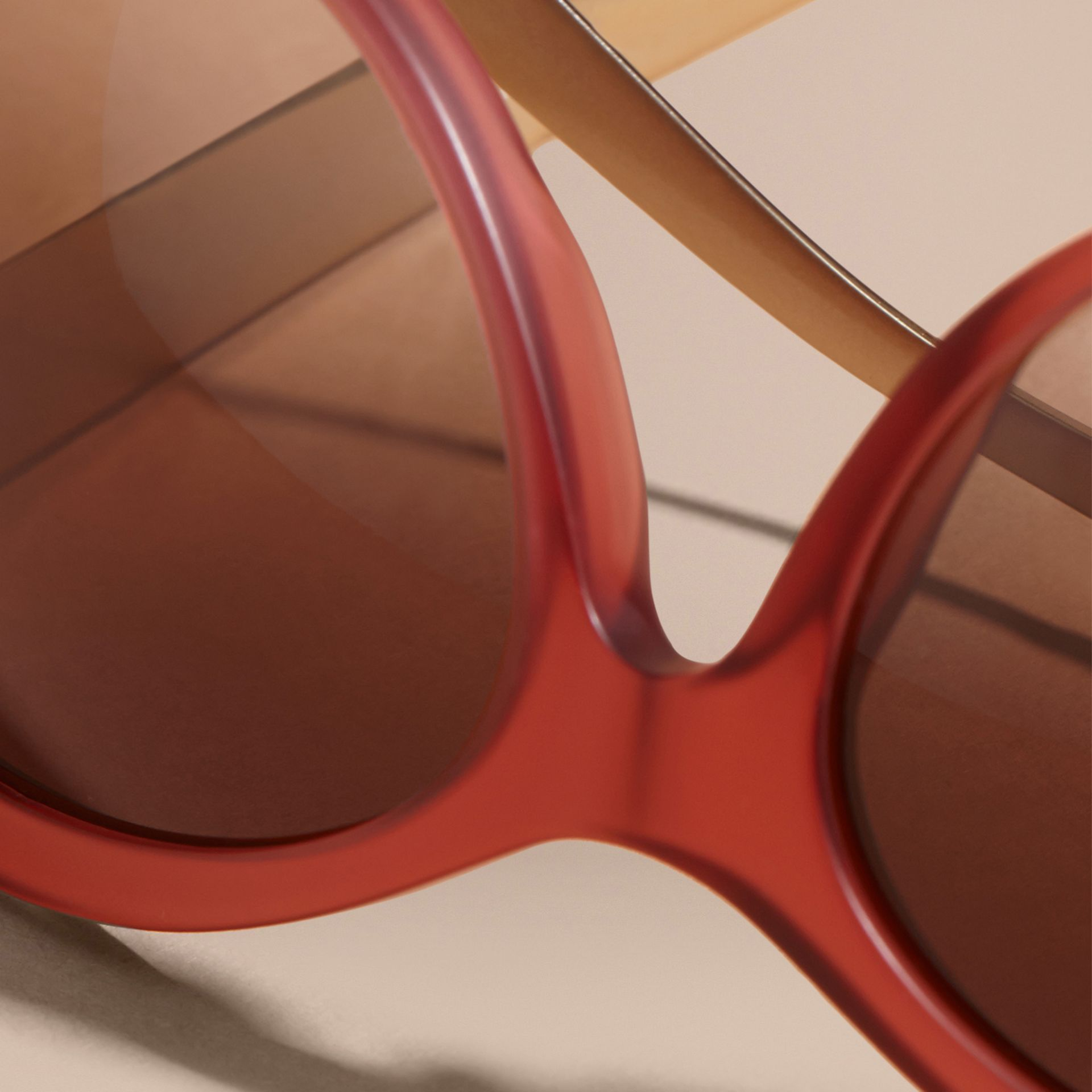 Red 3D Check Cat-eye Sunglasses Red - gallery image 2