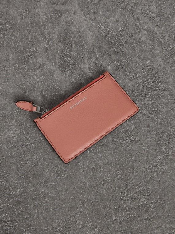 雙色調皮革拉鍊卡片夾 (淡灰玫瑰色)
