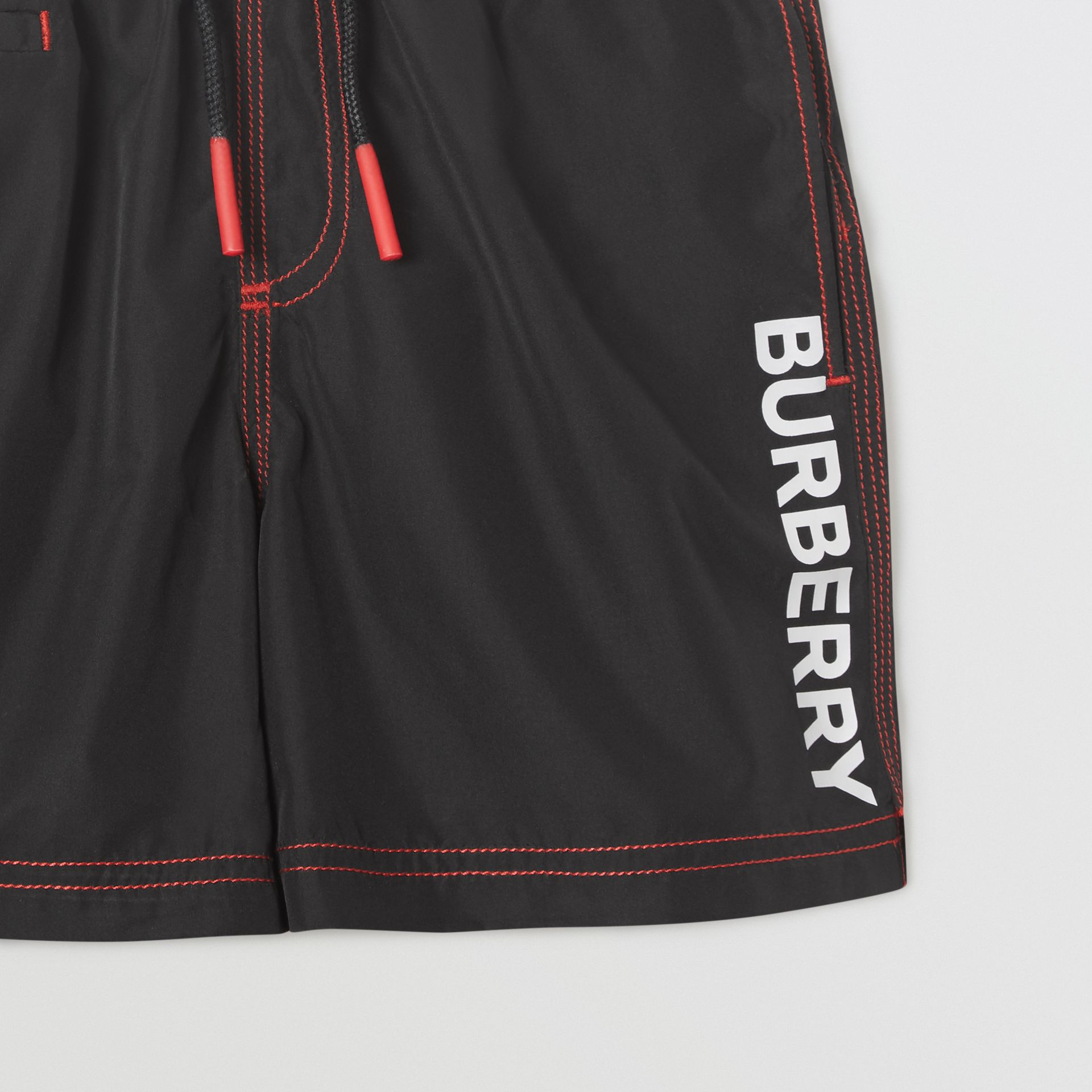 Logo Print Drawcord Swim Shorts in Black | Burberry Canada - gallery image 4