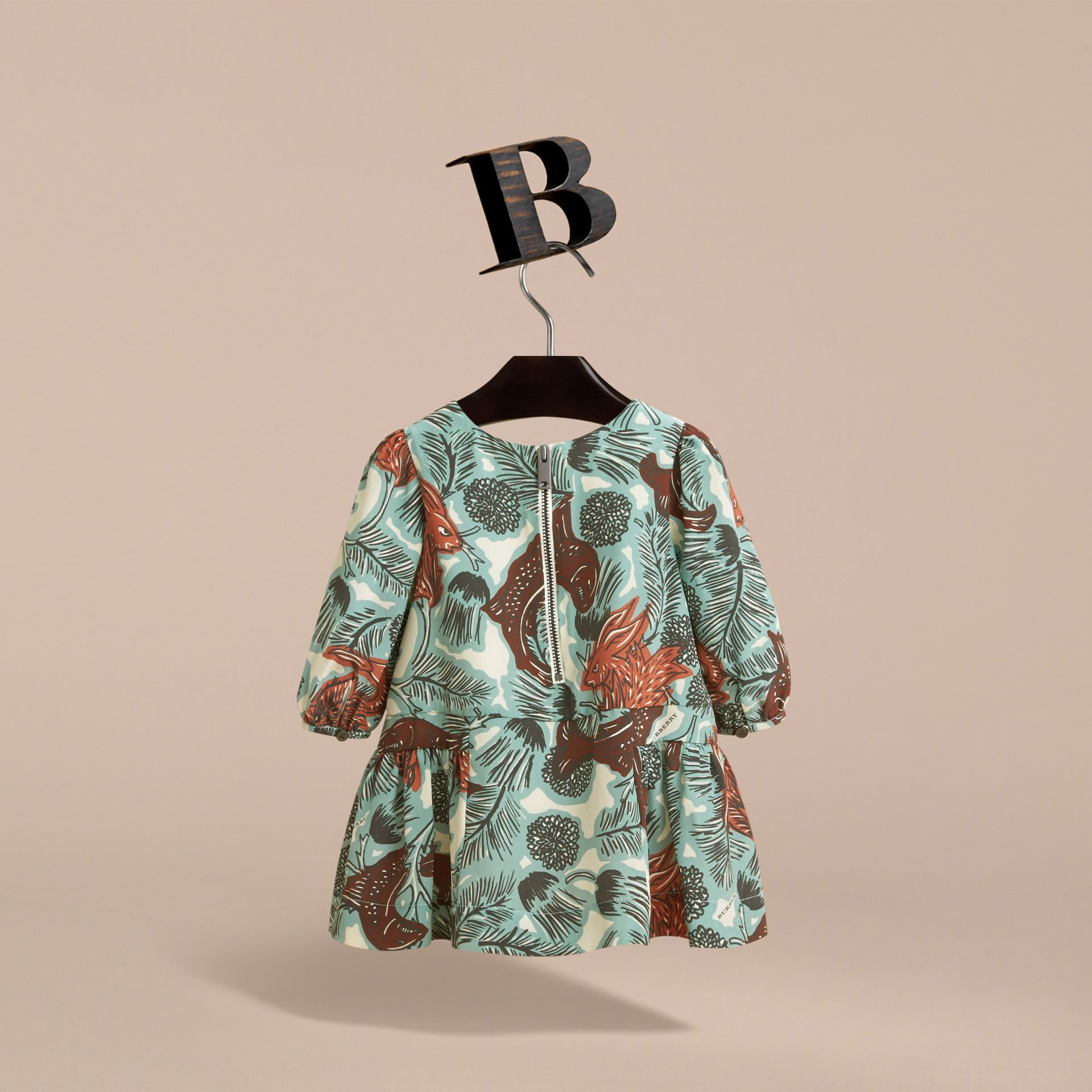 Beasts Print Silk Gathered Dress in Pale Celadon | Burberry - gallery image 3