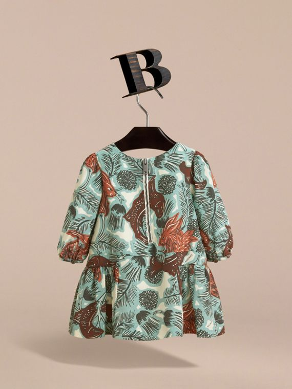 Beasts Print Silk Gathered Dress in Pale Celadon | Burberry - cell image 3