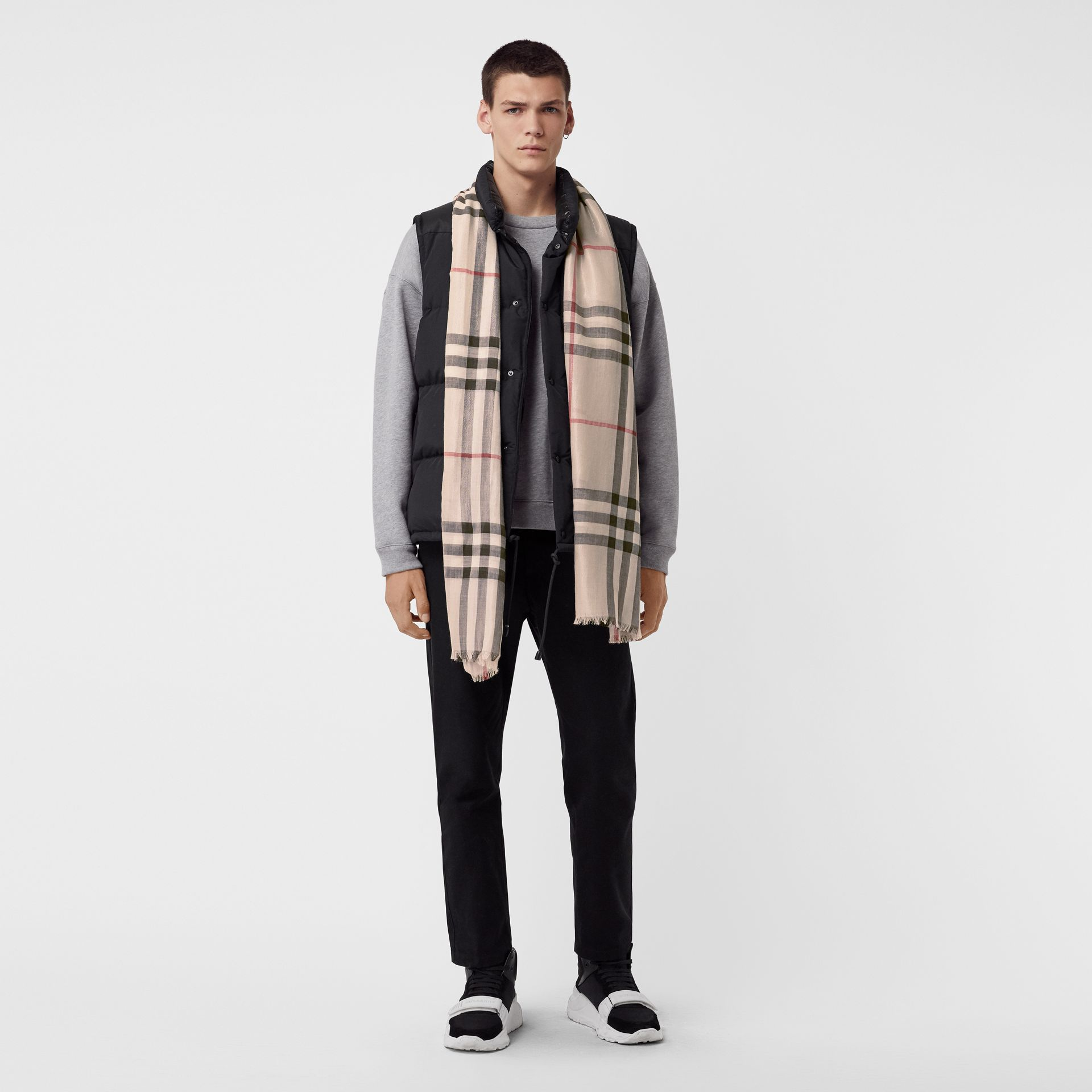 Metallic Check Silk and Wool Scarf in Stone/ Silver | Burberry Singapore - gallery image 3