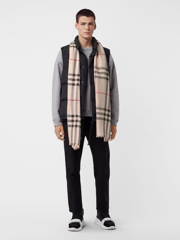 Metallic Check Silk and Wool Scarf in Stone/ Silver | Burberry Hong Kong - cell image 3
