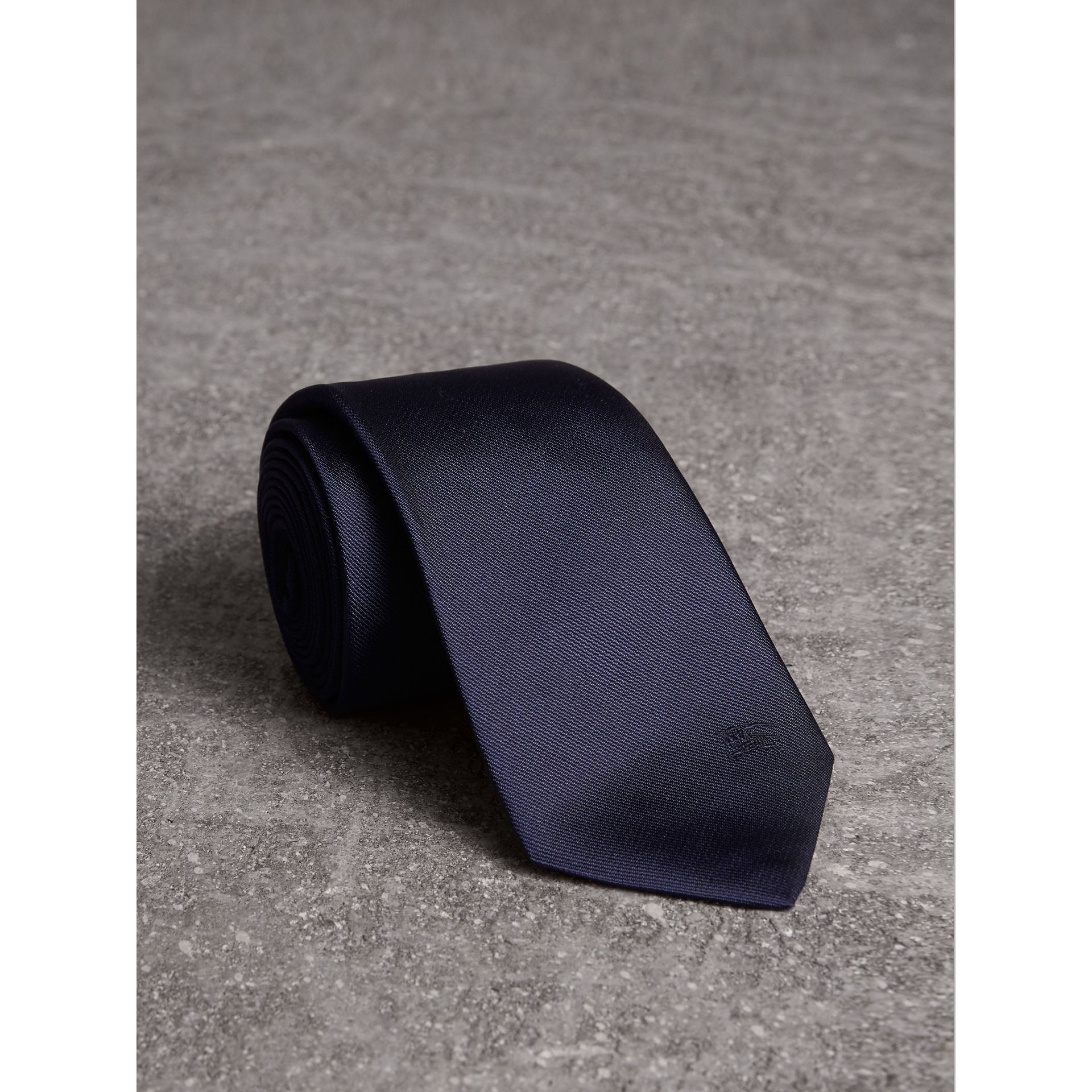 Modern Cut Silk Twill Tie in Navy - Men | Burberry Australia - gallery image 1