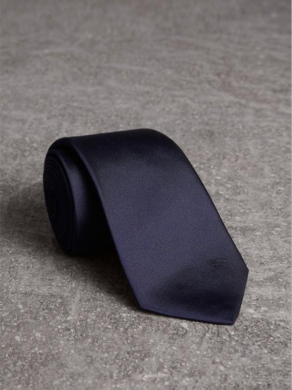 Gravata de sarja de seda com corte moderno (Azul Marinho)