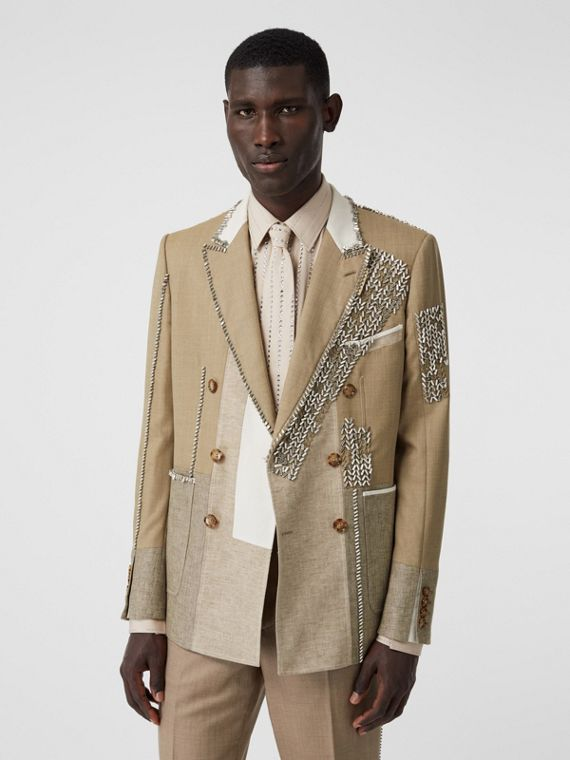 English Fit Crystal Embroidered Wool Cashmere Jacket in Pecan Melange