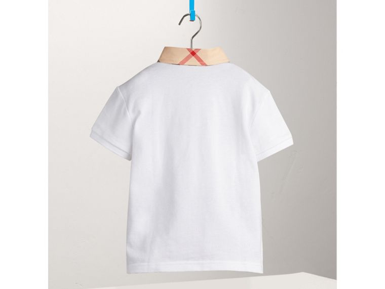 Check Collar Polo Shirt in White | Burberry - cell image 2
