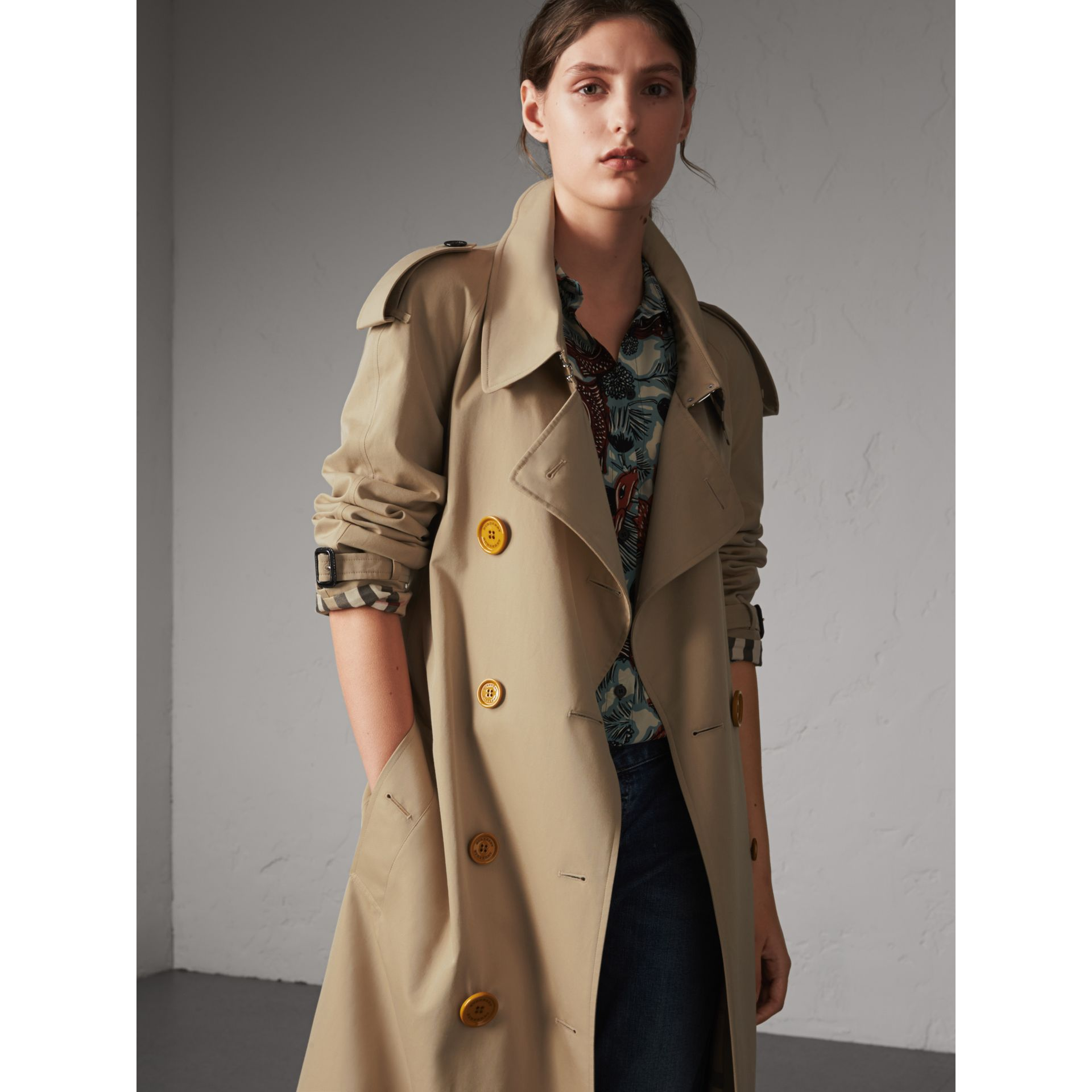 Resin Button Cotton Gabardine Oversize Trench Coat in Honey - Women | Burberry - gallery image 1