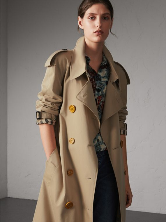 Resin Button Cotton Gabardine Oversize Trench Coat in Honey