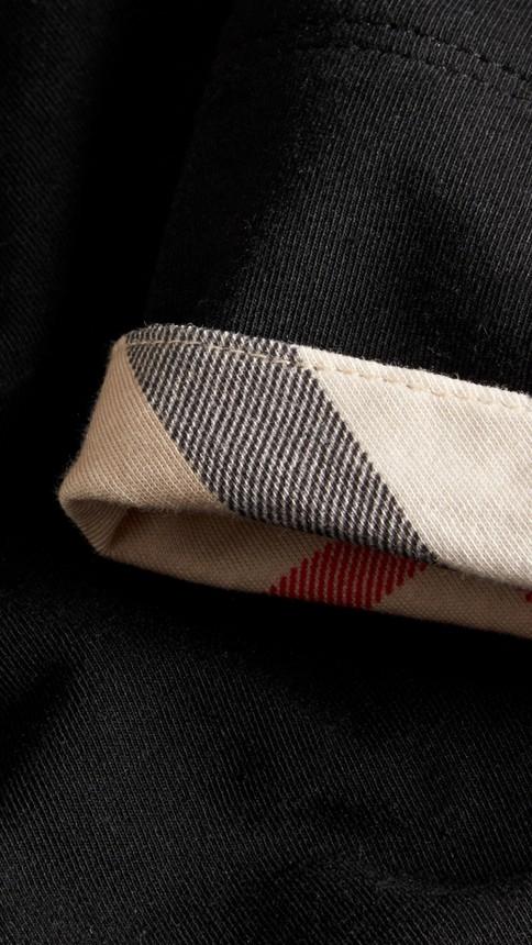 Black Check Cuff Stretch Cotton T-Shirt Black - Image 2