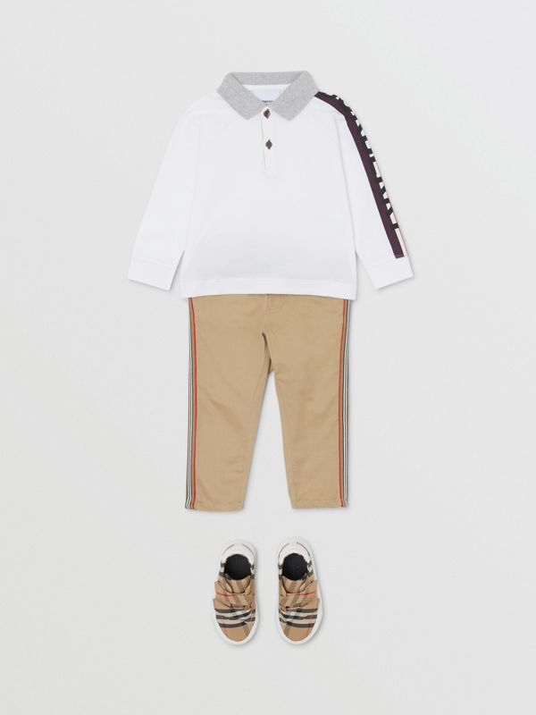 Long-sleeve Logo Print Cotton Polo Shirt in White - Children | Burberry - cell image 2