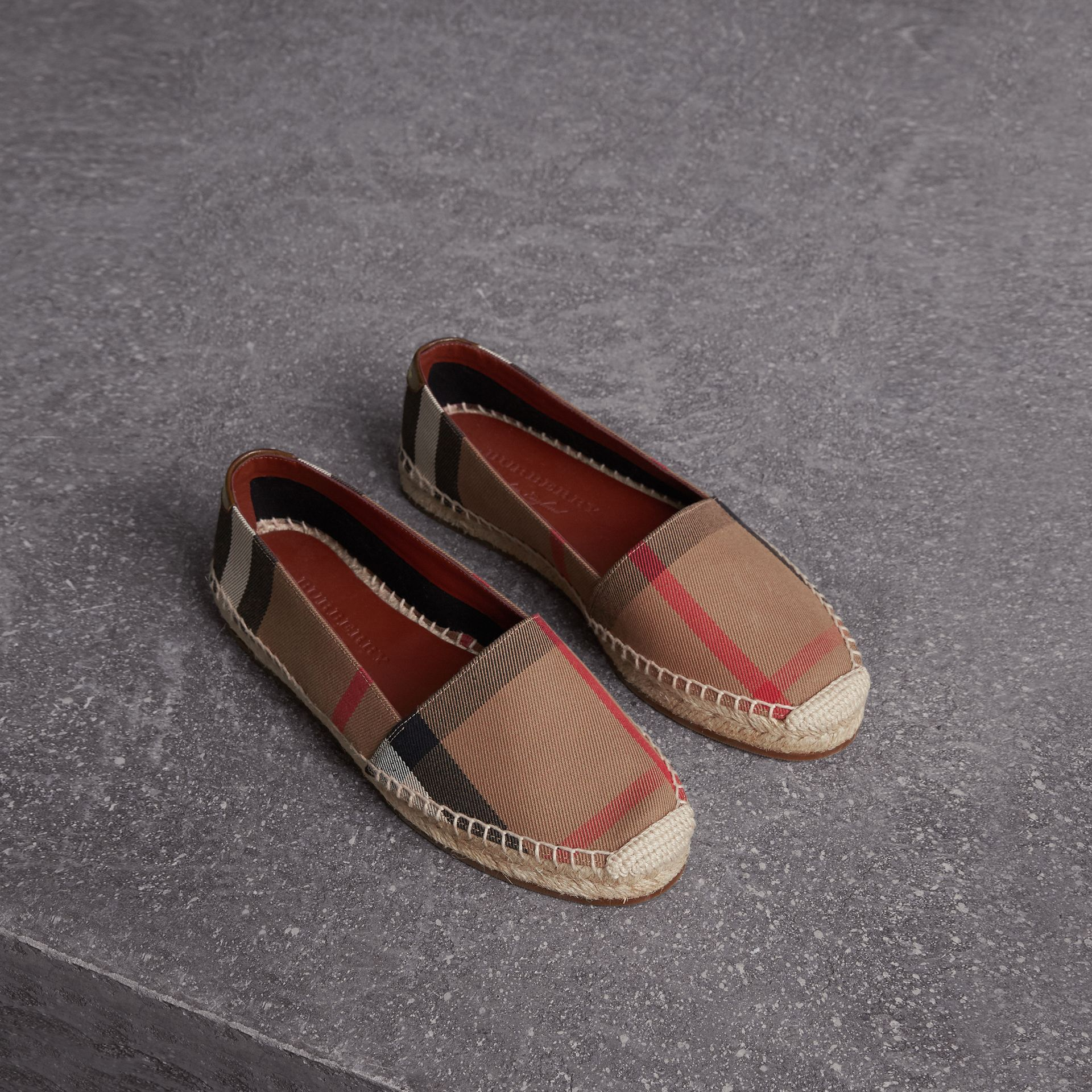 Check Linen Cotton Espadrilles in Dark Tan - Women | Burberry United Kingdom - gallery image 0