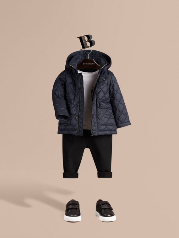 Check Detail Diamond-quilted Jacket in Ink Blue | Burberry