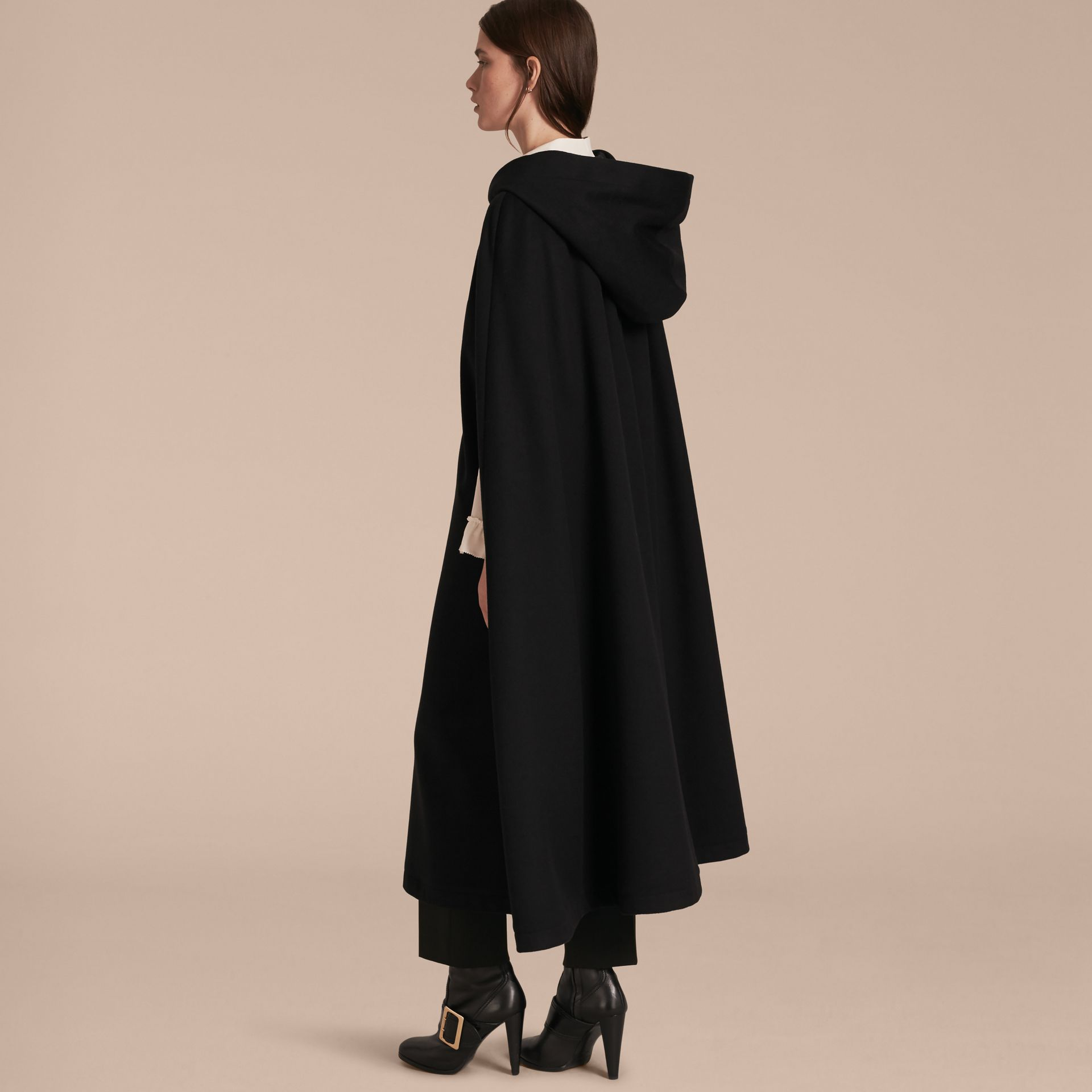 Black Hooded Wool Cashmere Cape - gallery image 3