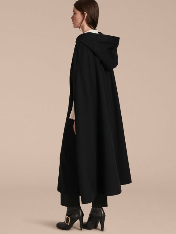 Black Hooded Wool Cashmere Cape - cell image 2