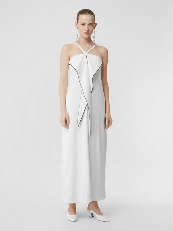 Drape Detail Stretch Jersey Gown in White