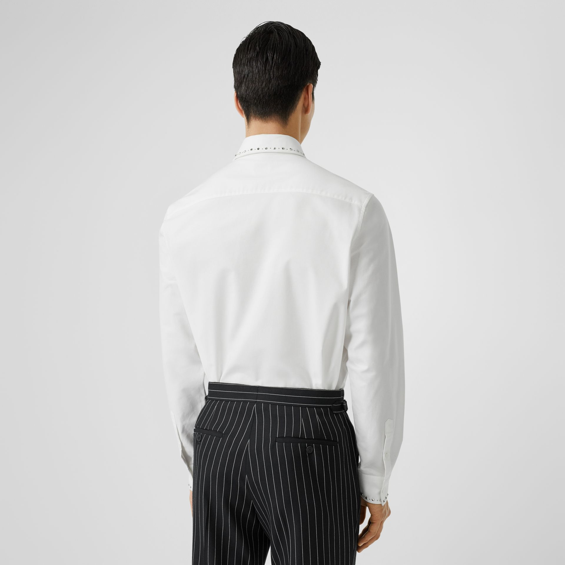 Classic Fit Stud Detail Cotton Oxford Shirt in White - Men | Burberry - gallery image 2