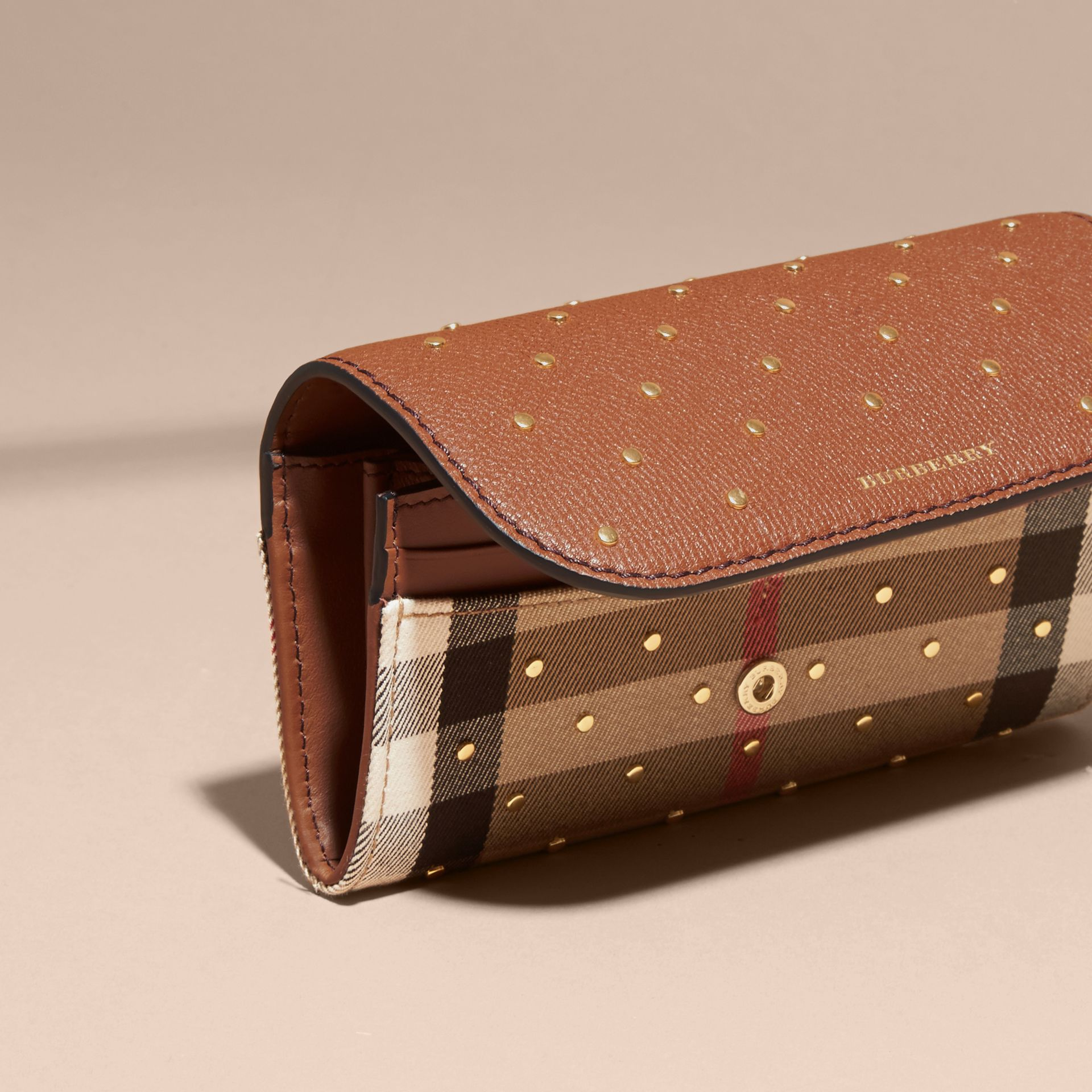 Tan Riveted Leather and House Check Continental Wallet Tan - gallery image 3