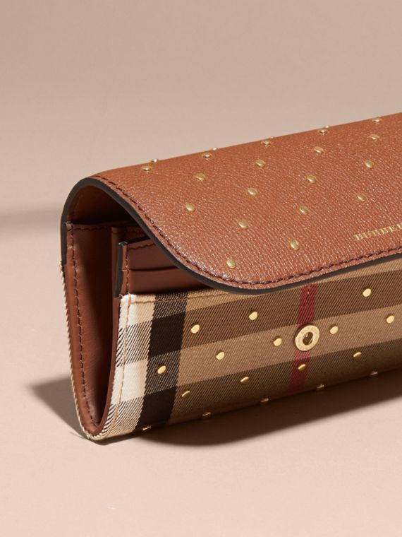 Riveted Leather and House Check Continental Wallet Tan - cell image 2