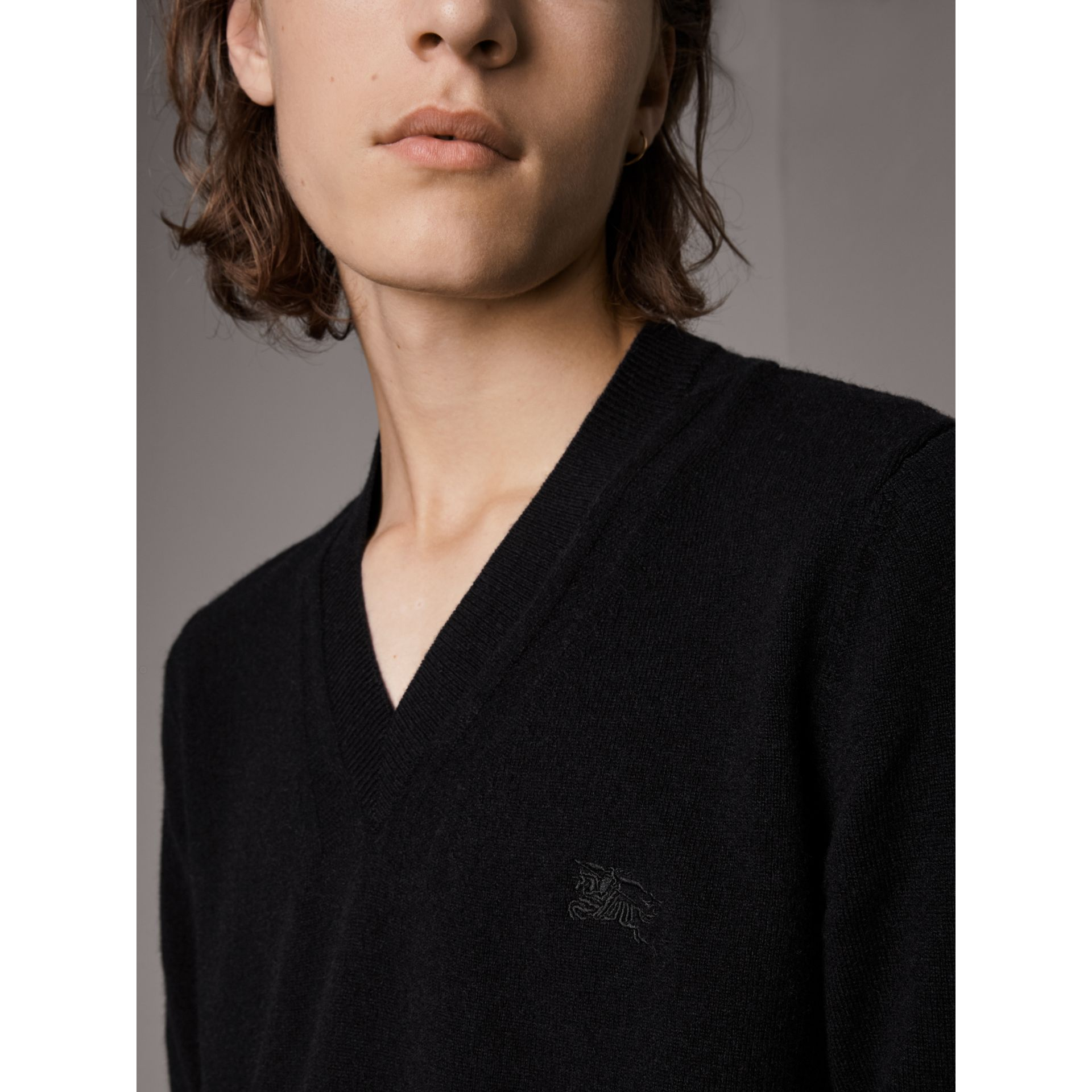 Cashmere V-neck Sweater in Black - Men | Burberry United Kingdom - gallery image 1