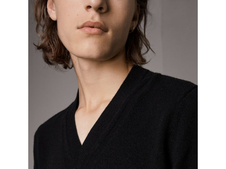 Cashmere V-neck Sweater in Black - Men | Burberry - cell image 1