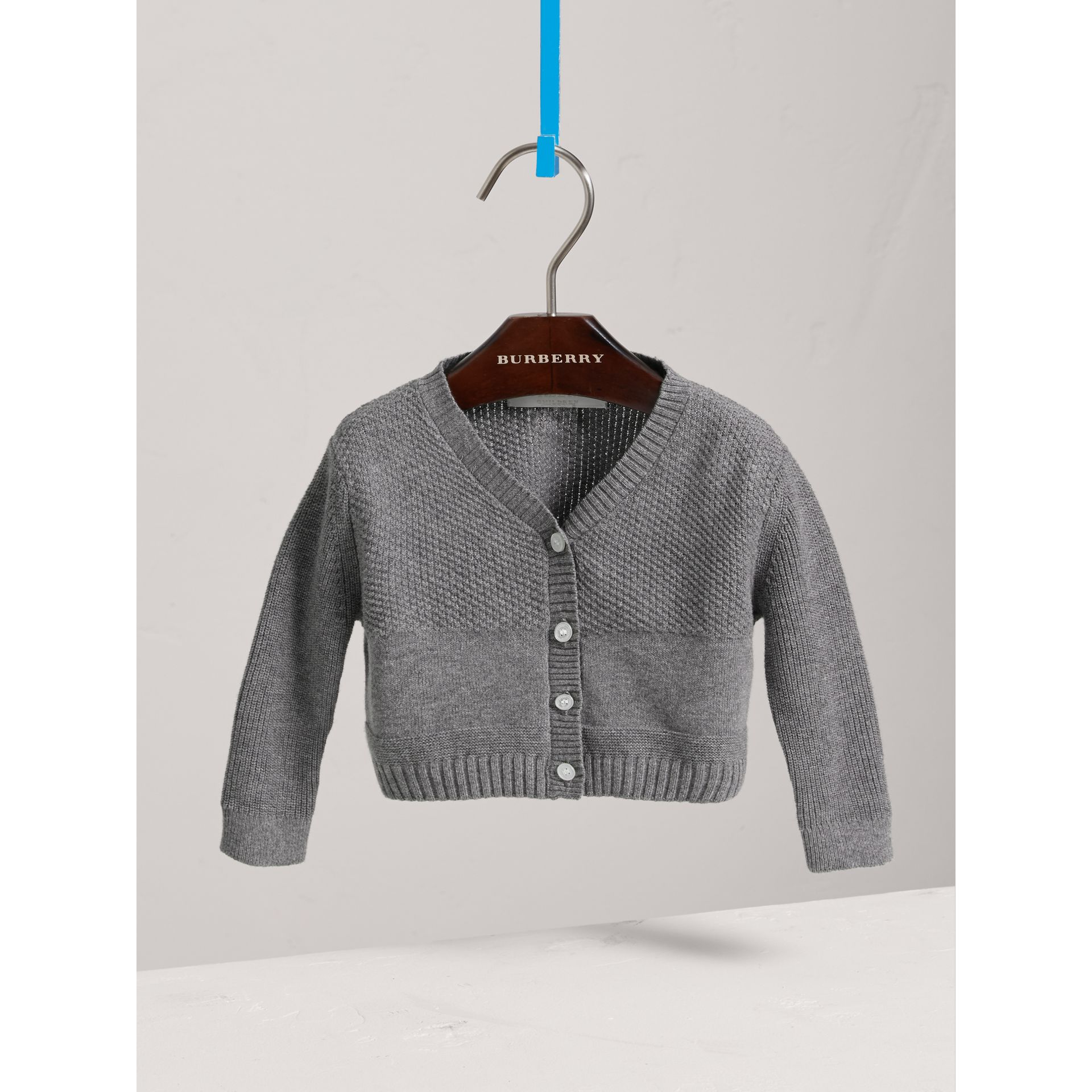 Multi-stitch Cotton Cardigan in Mid Grey Melange - Children | Burberry Singapore - gallery image 0