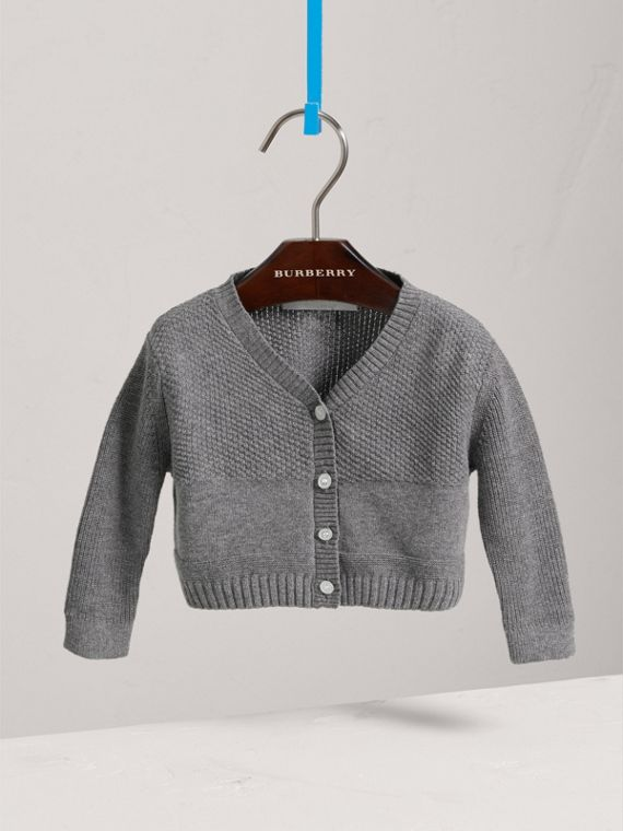 Multi-stitch Cotton Cardigan in Mid Grey Melange
