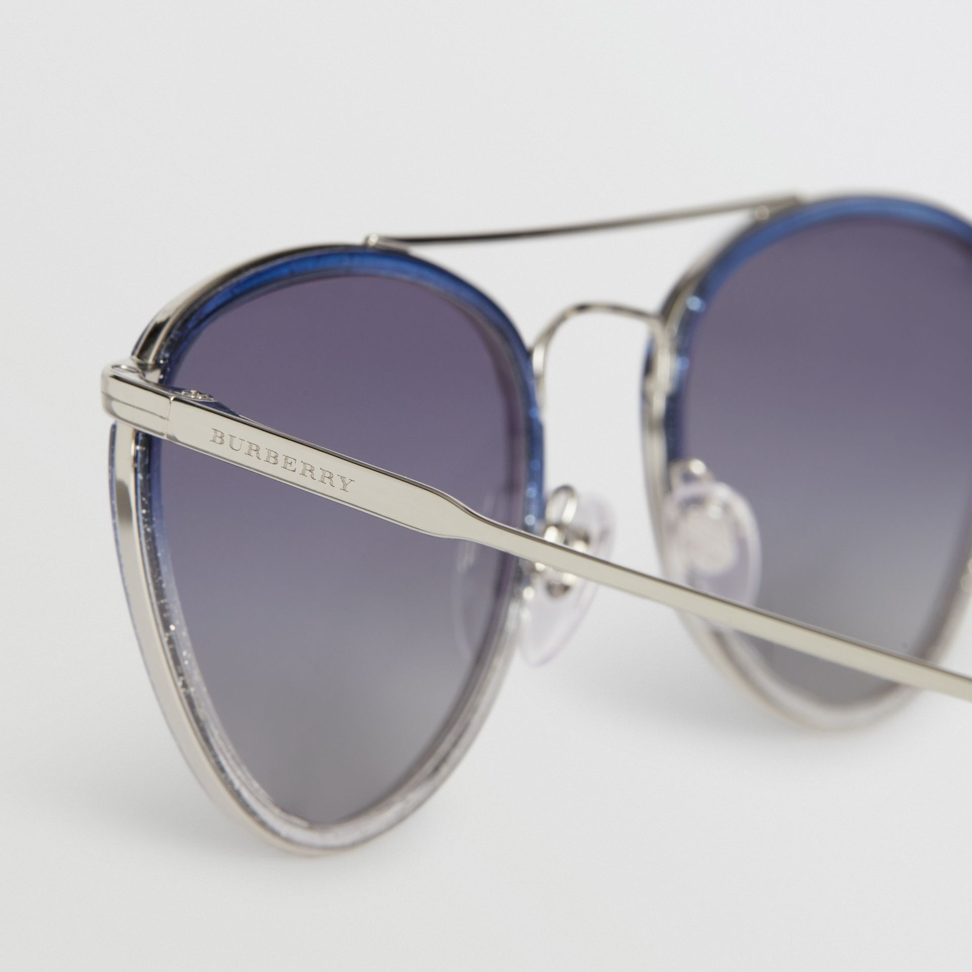 Glitter Detail Pilot Sunglasses in Blue - Women | Burberry Australia - gallery image 1