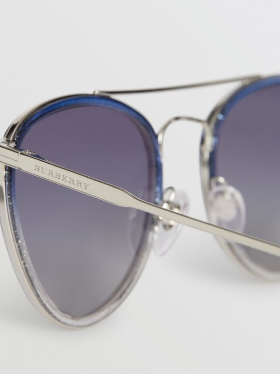 Glitter Detail Pilot Sunglasses in Blue - Women | Burberry Australia - cell image 1