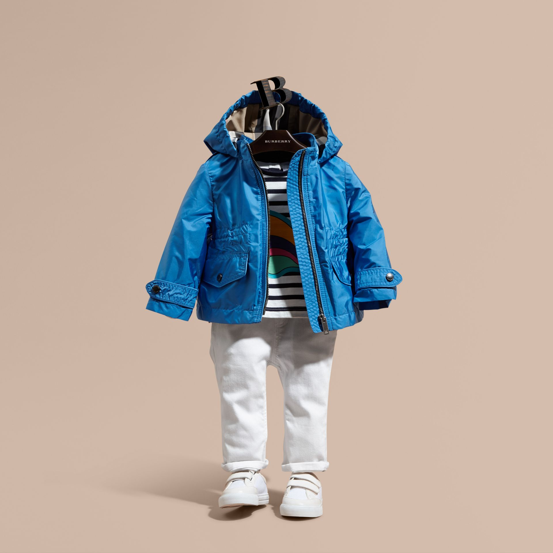 Hooded Packaway Technical Jacket in Hydrangea Blue - gallery image 1