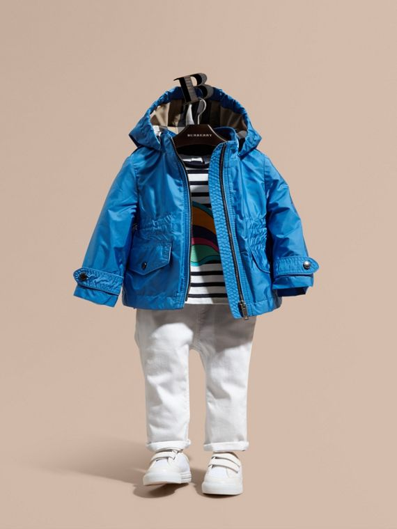 Hooded Packaway Technical Jacket in Hydrangea Blue