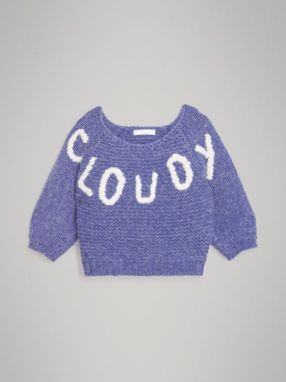 Embroidered Chunky Knit Wool Blend Sweater in Dusty Blue