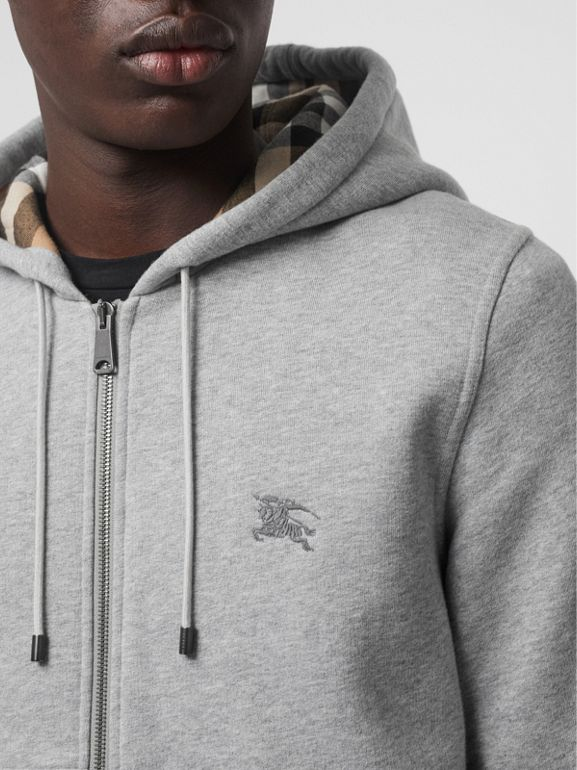 Check Detail Jersey Hooded Top in Pale Grey Melange - Men | Burberry - cell image 1