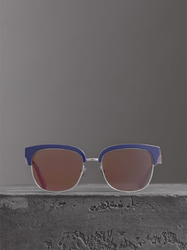 Check Detail D-frame Sunglasses in Blue - Men | Burberry United Kingdom - cell image 2