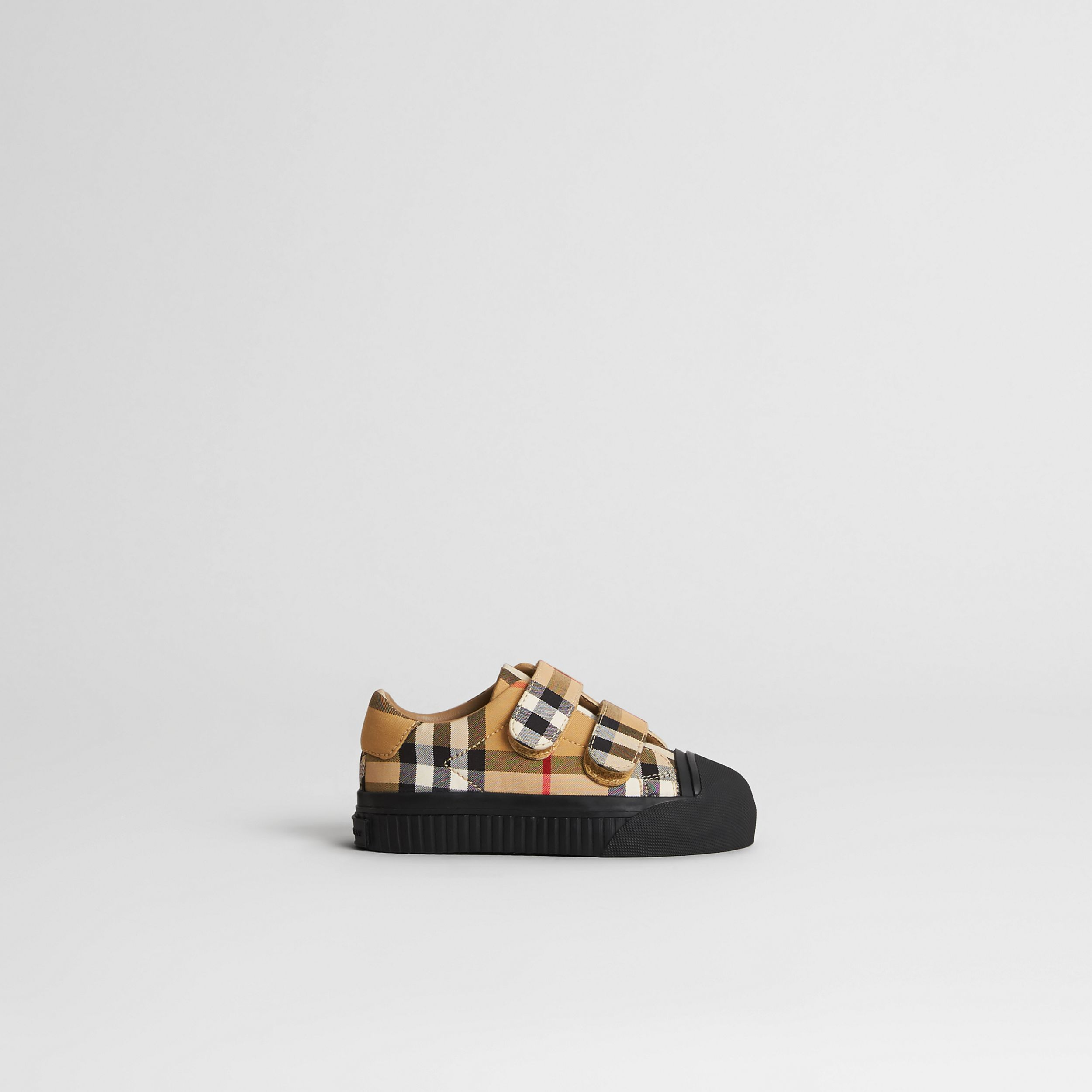 Vintage Check and Leather Sneakers in Antique Yellow/black - Children | Burberry - 4