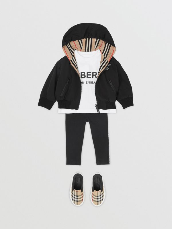 Reversible Icon Stripe Hooded Jacket in Black - Children | Burberry Australia - cell image 2