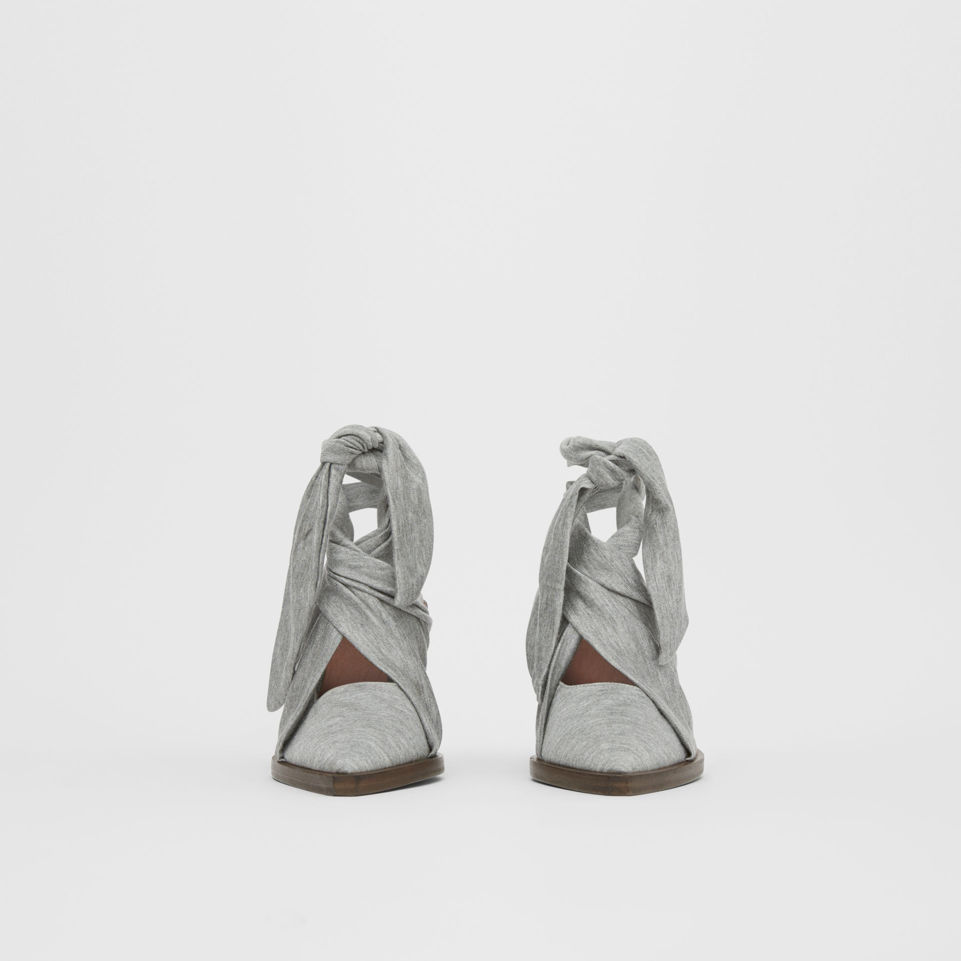 Scarf Tie Detail Jersey Point-toe Mules in Pewter Melange - Women | Burberry - gallery image 3