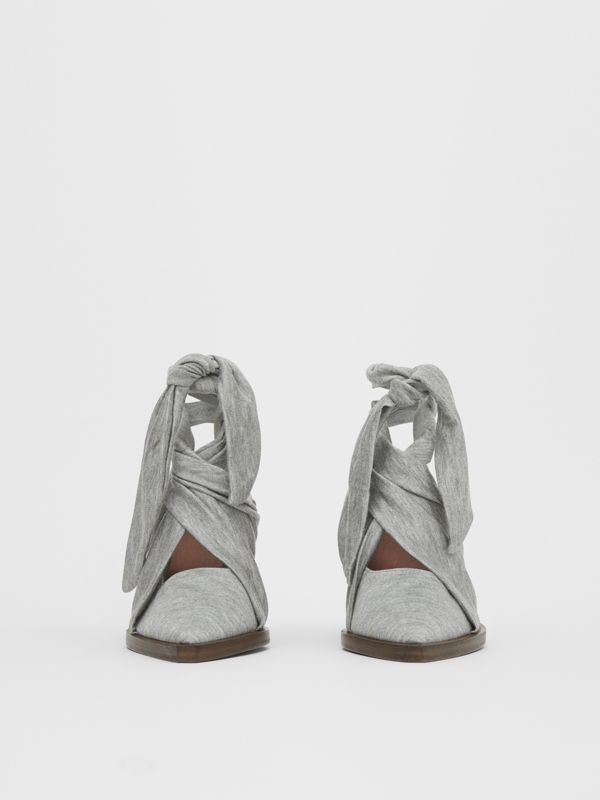 Scarf Tie Detail Jersey Point-toe Mules in Pewter Melange - Women | Burberry - cell image 3