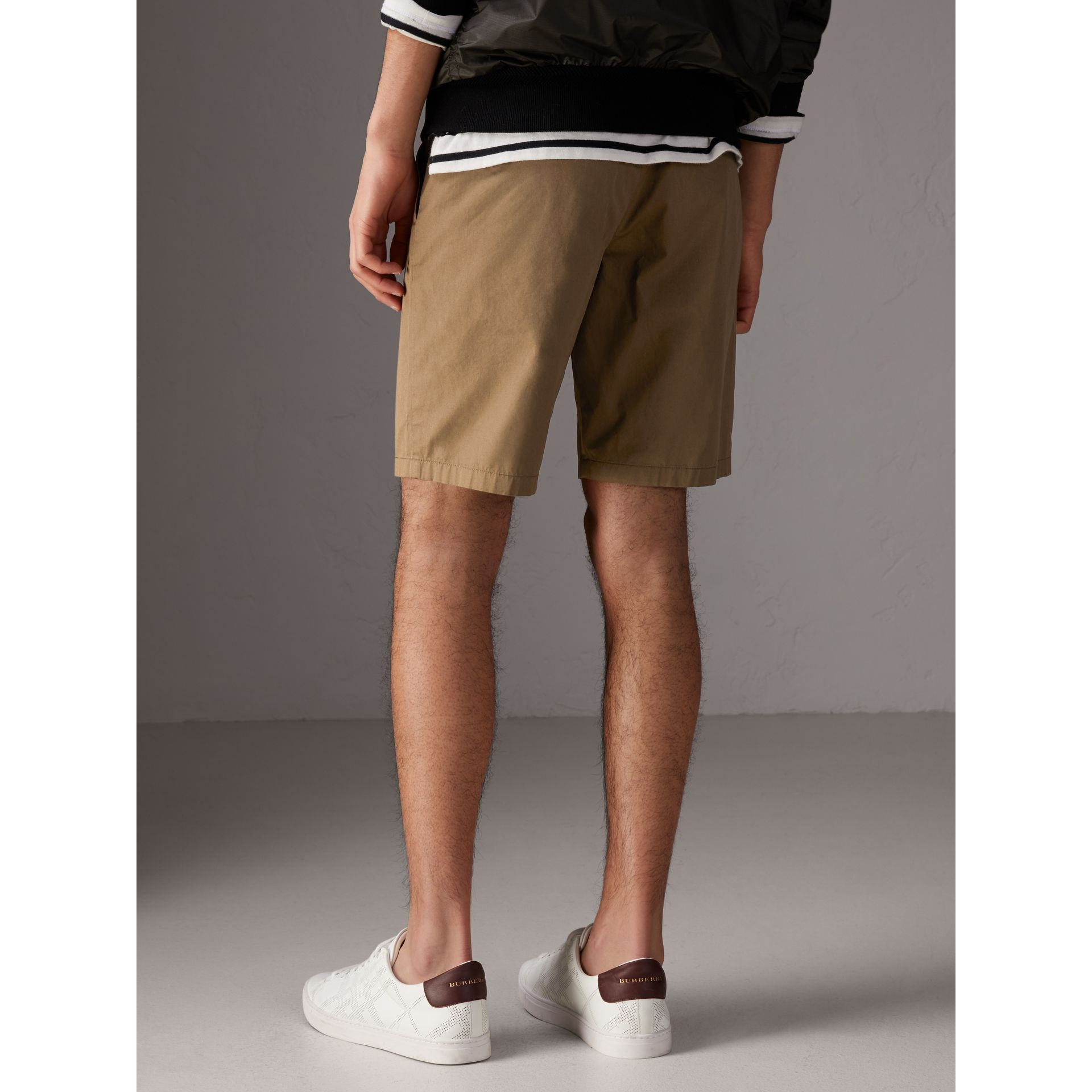 Cotton Twill Chino Shorts in Olive Green - Men | Burberry Canada - gallery image 2
