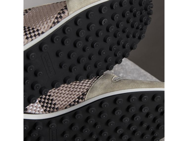 Woven Check Suede Trainers in Storm Grey - Men | Burberry United Kingdom - cell image 1