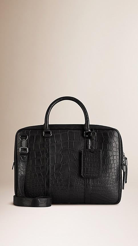 Black Alligator Leather Crossbody Briefcase - Image 1