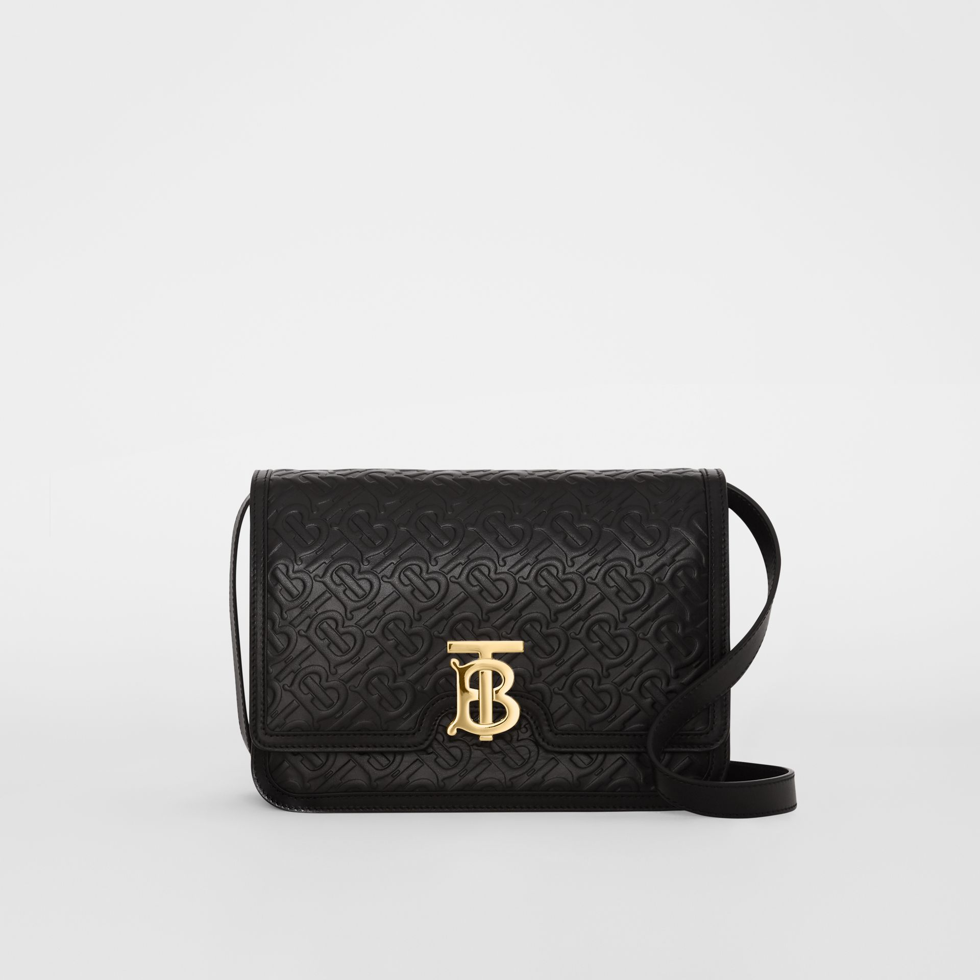 Medium Monogram Leather TB Bag in Black - Women | Burberry - gallery image 0