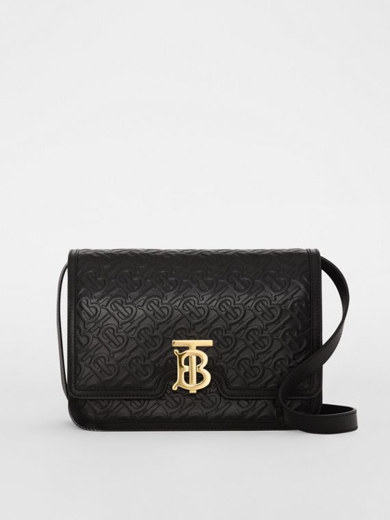 Medium Monogram Leather TB Bag in Black