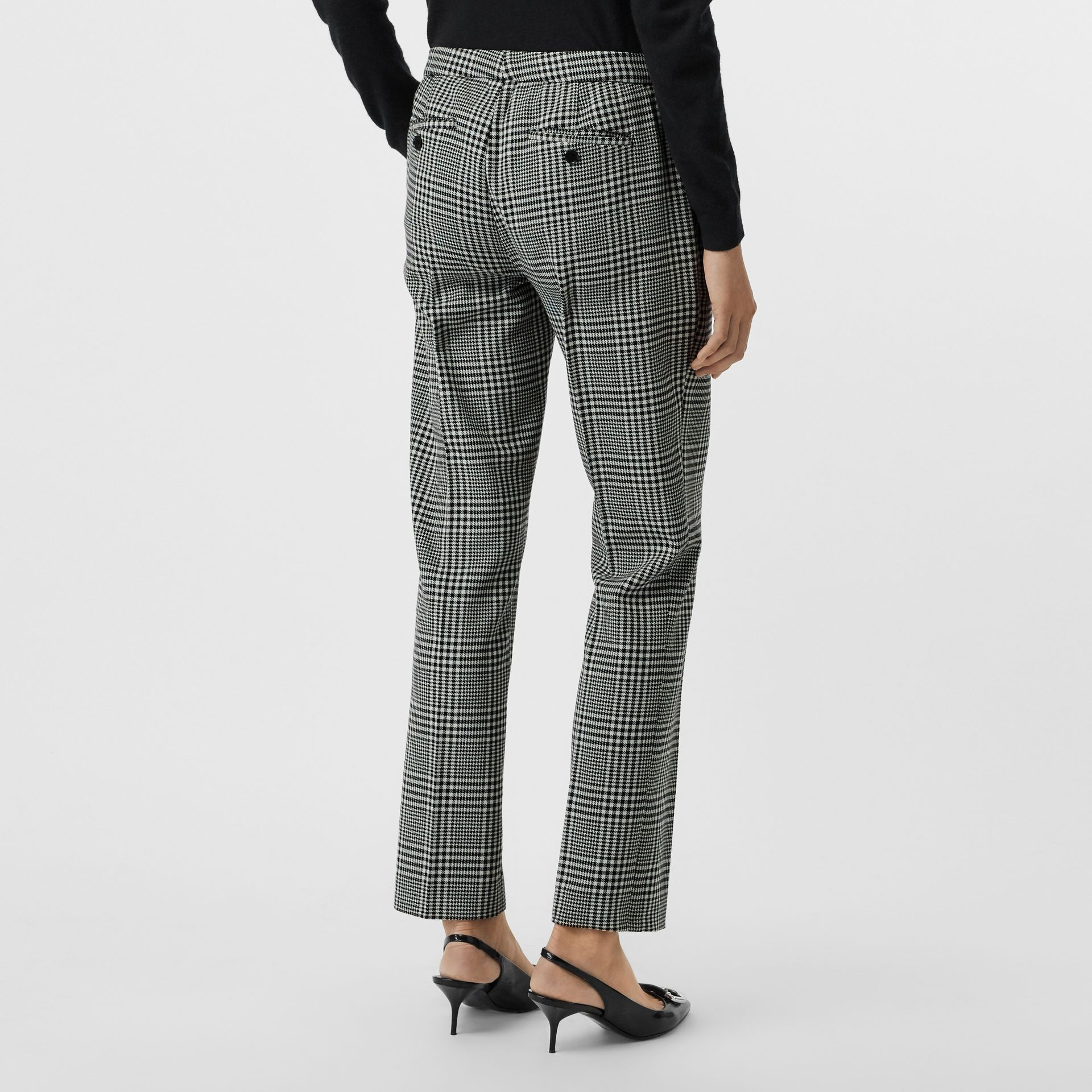 Straight Fit Prince of Wales Check Wool Trousers in Mist Green - Women | Burberry - gallery image 2