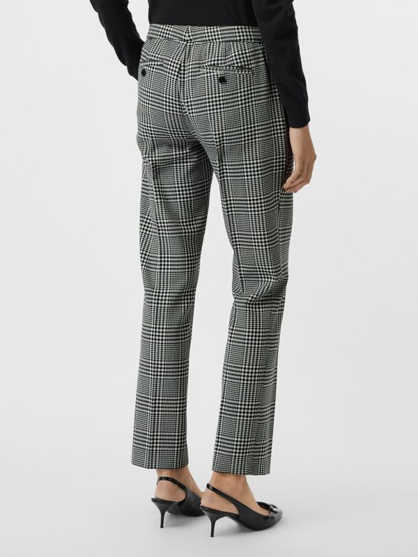 Straight Fit Prince of Wales Check Wool Trousers in Mist Green - Women | Burberry Australia - cell image 2
