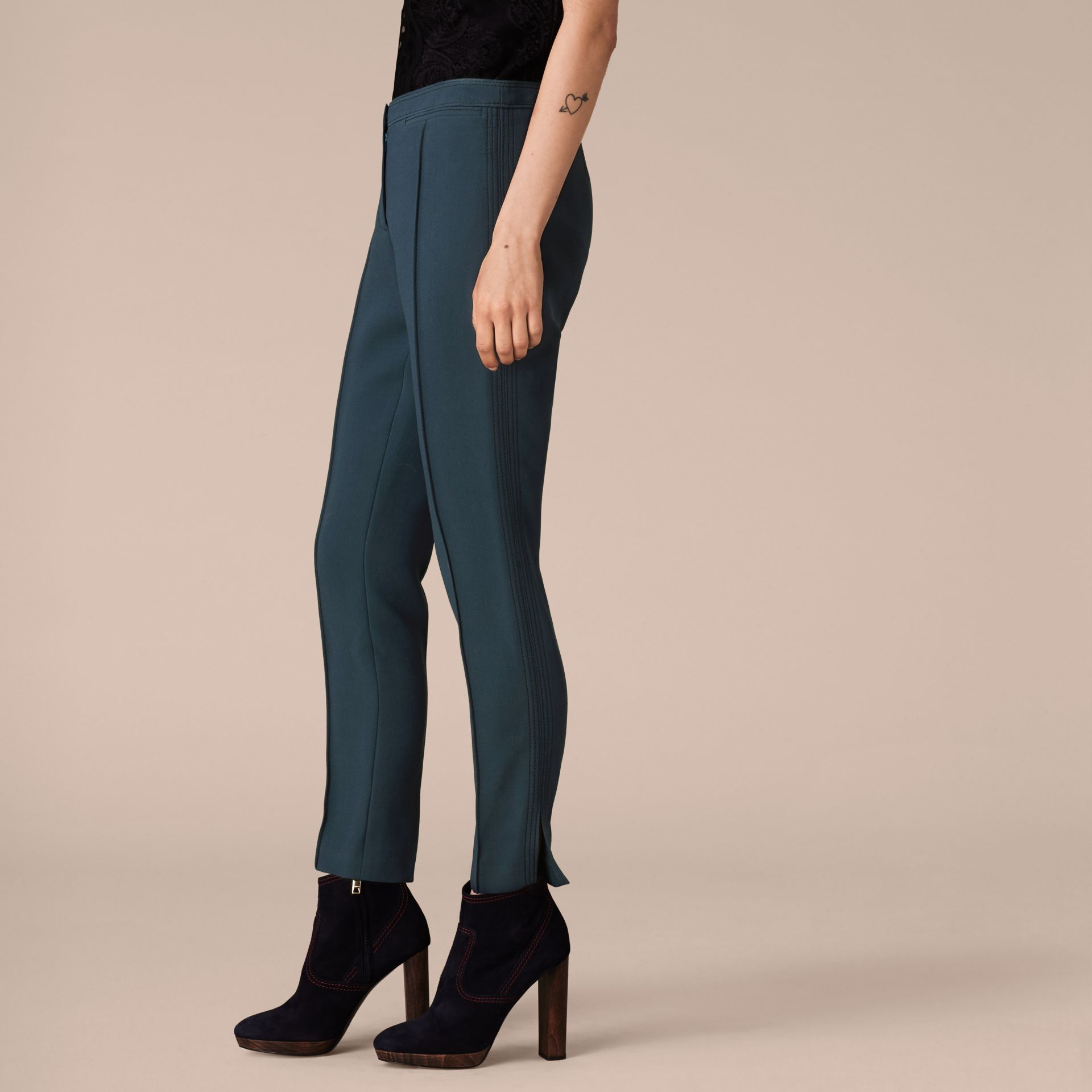 Ink blue Wool Silk Straight Leg Trousers Ink Blue - gallery image 4