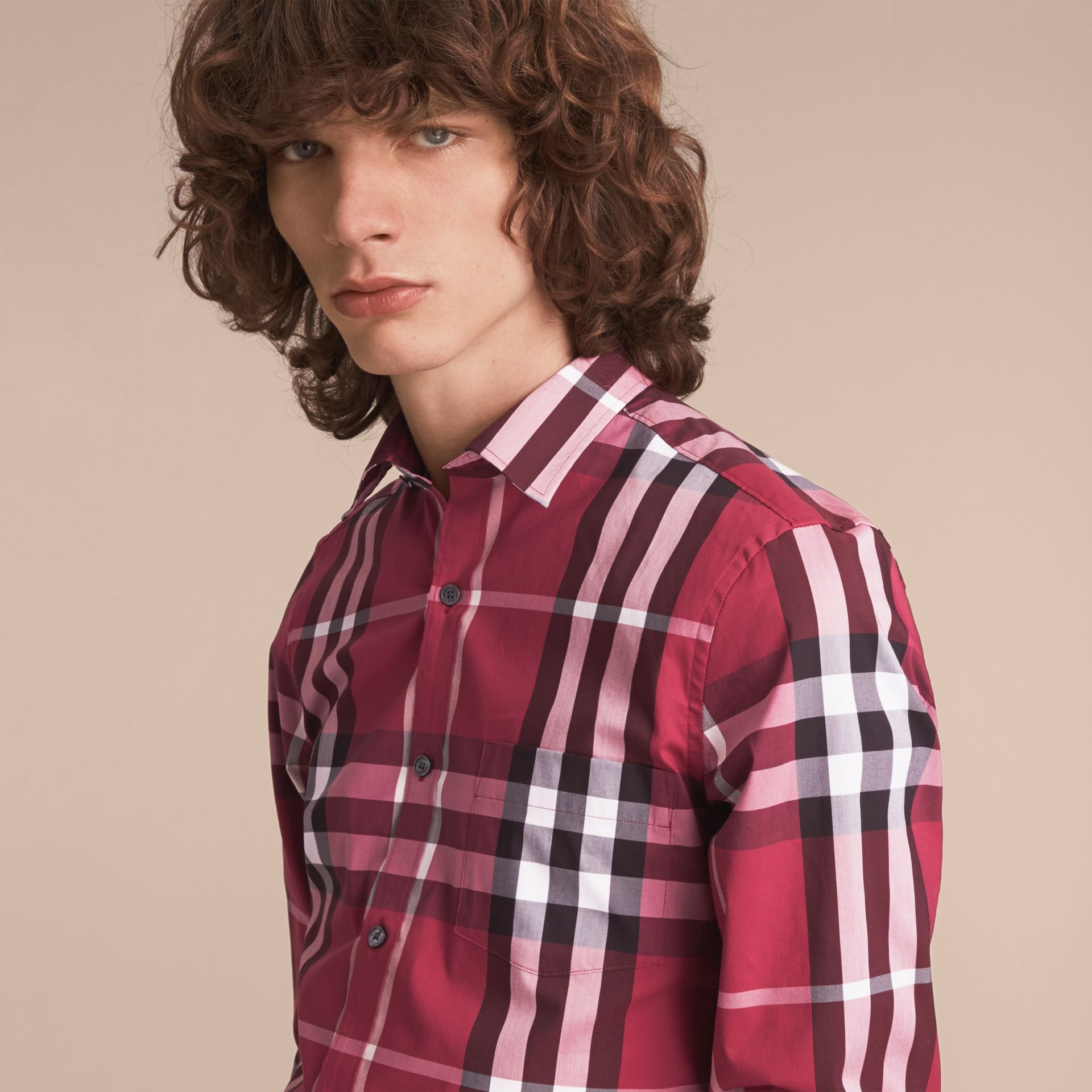 Check Stretch Cotton Shirt in Plum Pink - Men | Burberry Canada - gallery image 5