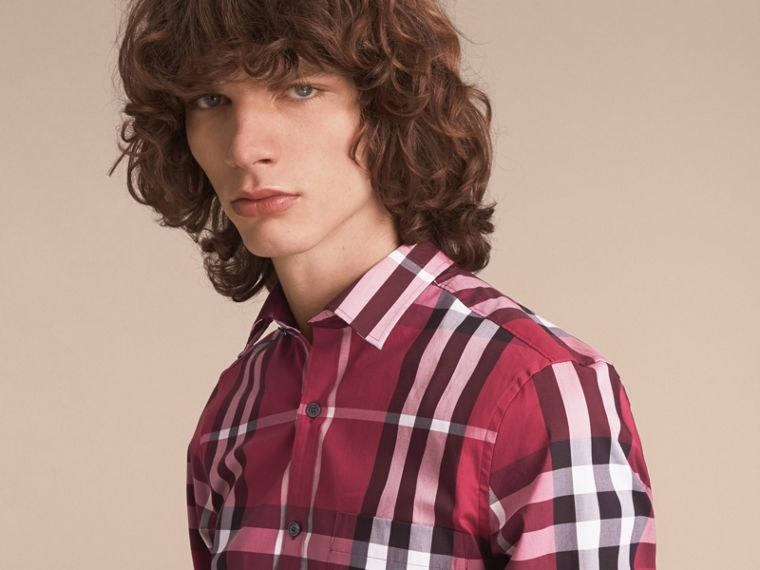 Check Stretch Cotton Shirt in Plum Pink - Men | Burberry Canada - cell image 4