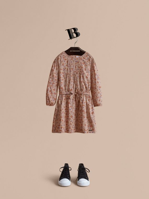 Pintuck Detail Floral Cotton Dress | Burberry
